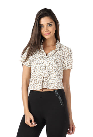 Cheetah Print Crop Top Shirt Front