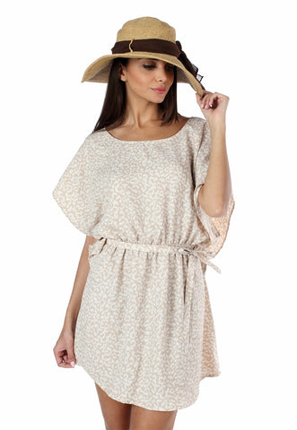 Cream Cheetah Print Batwing Dress Front