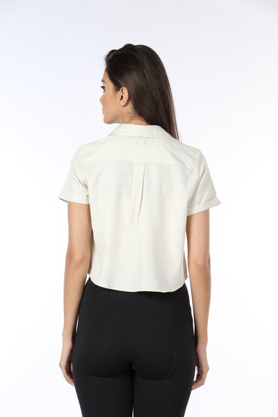 Cream Crop Top Shirt Back