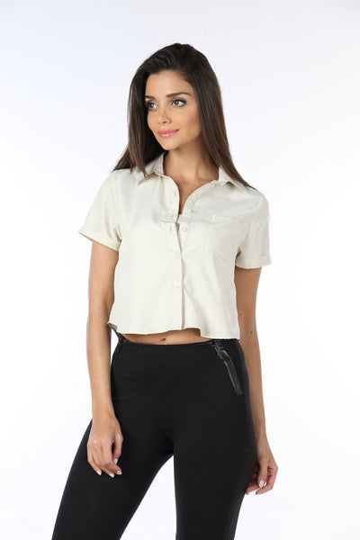 Cream Crop Top Shirt Front