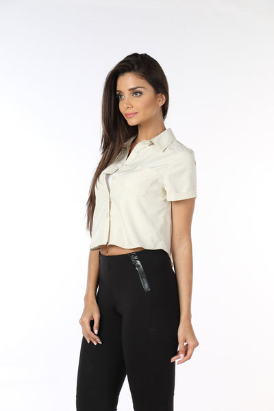 Cream Crop Top Shirt Side