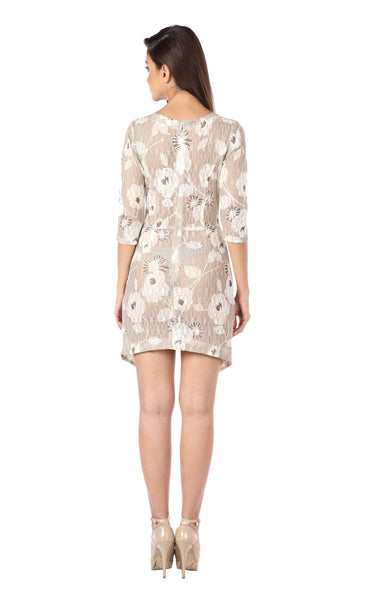 Floral Cream Asymmetric Lace Knit Dress Back