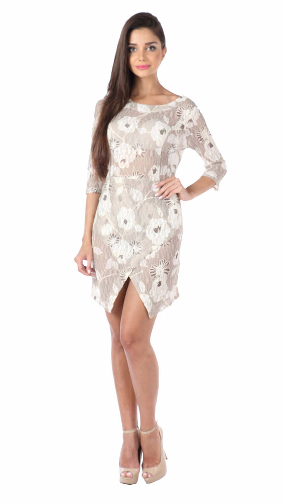 Floral Cream Asymmetric Lace Knit Dress Front