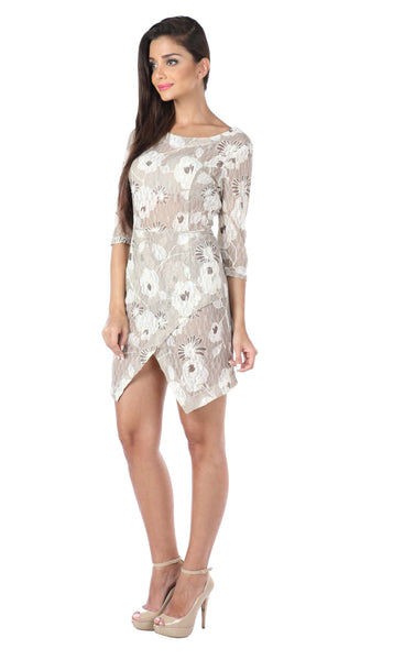 Floral Cream Asymmetric Lace Knit Dress Side
