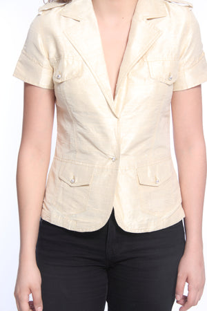 Silk Short Sleeve Jacket With Swarovski Buttons Close Up
