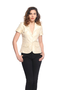 Silk Short Sleeve Jacket With Swarovski Buttons Front