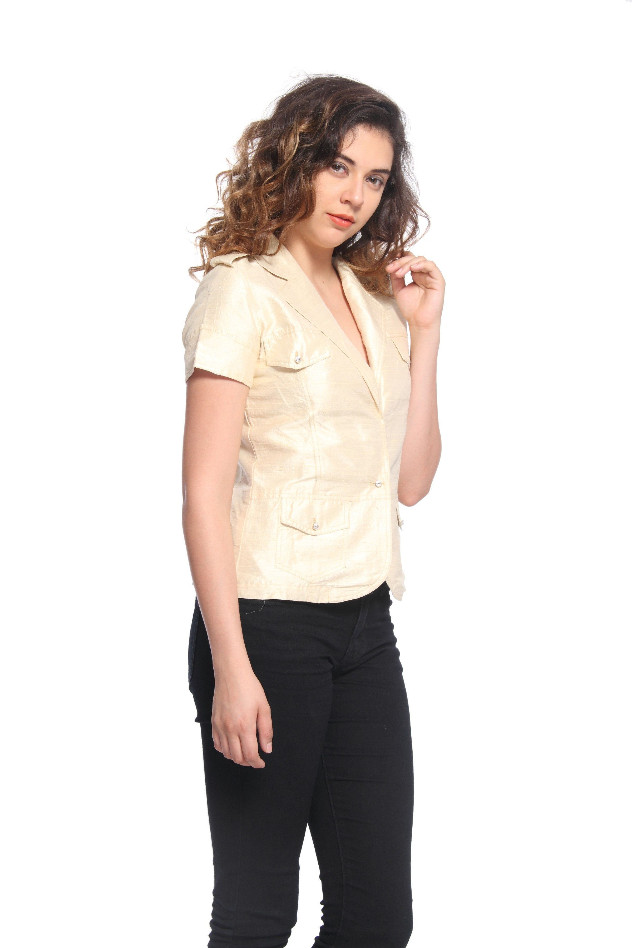 Silk Short Sleeve Jacket With Swarovski Buttons Side