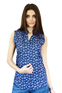 Shoulder Pin Tuck Top in Blue Floral Print Front