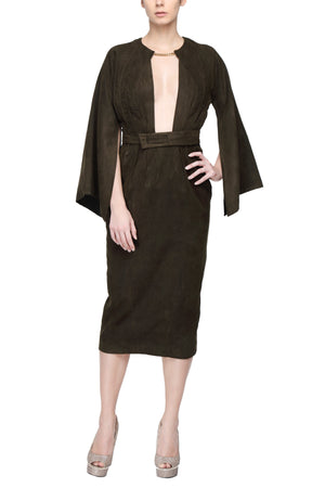 Dark Green Kimono Dress With Rectangular Sleeves And Plunging Neck Line Front