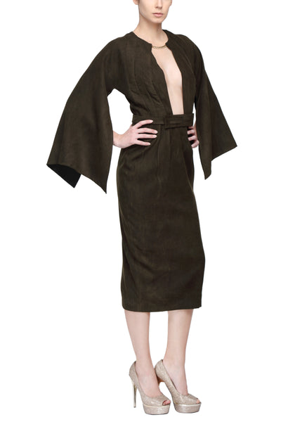 Dark Green Kimono Dress With Rectangular Sleeves And Plunging Neck Line Side