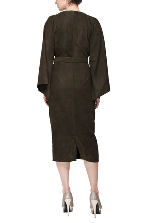 Dark Green Kimono Dress With Rectangular Sleeves And Plunging Neck Line Back
