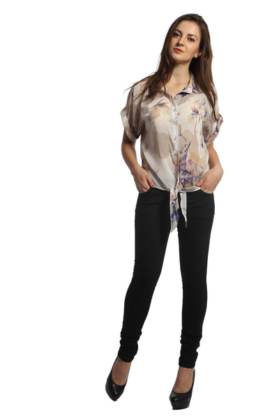 Floral Print Tie Up Top Front