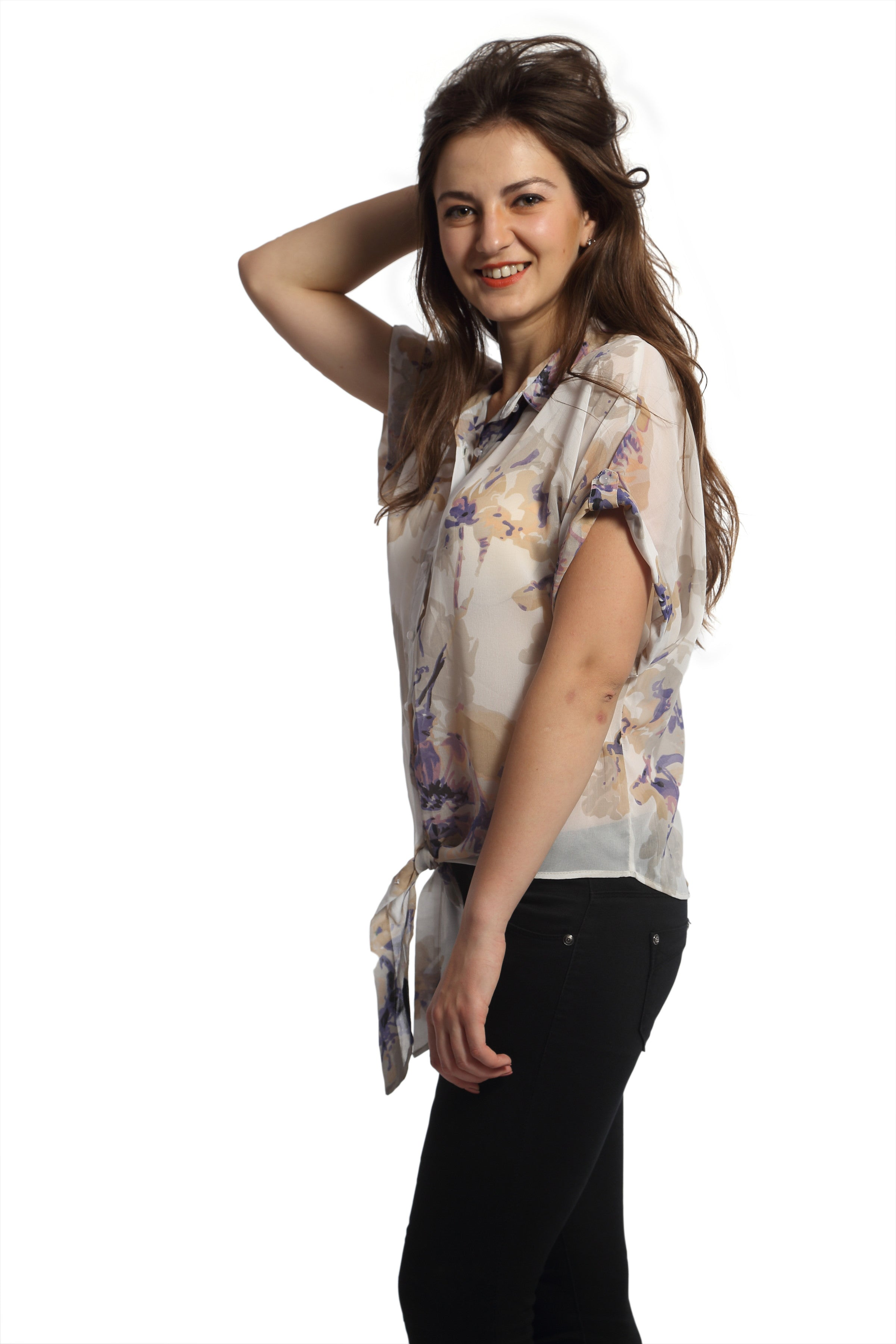 Floral Print Tie Up Top Side