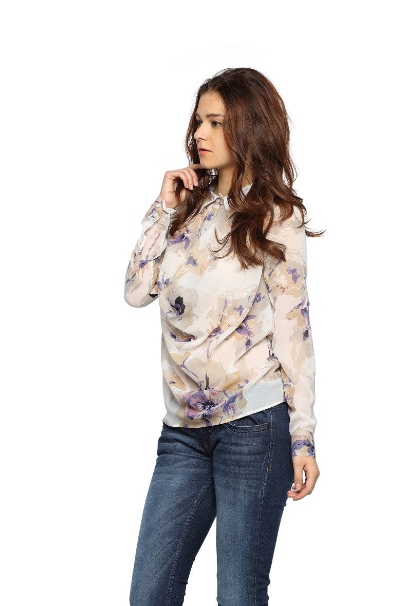 Floral Print Front Cowl Top Side