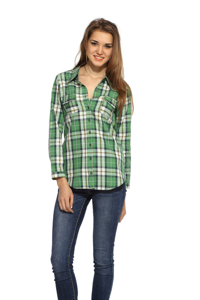 Green Checks Shirt Top Front
