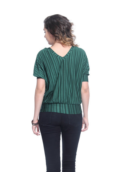 Green Stripes Blossom Top Back