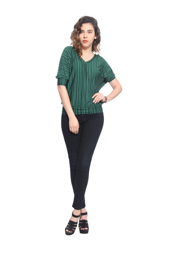 Green Stripes Blossom Top Front