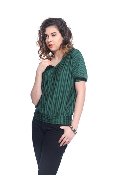 Green Stripes Blossom Top Side