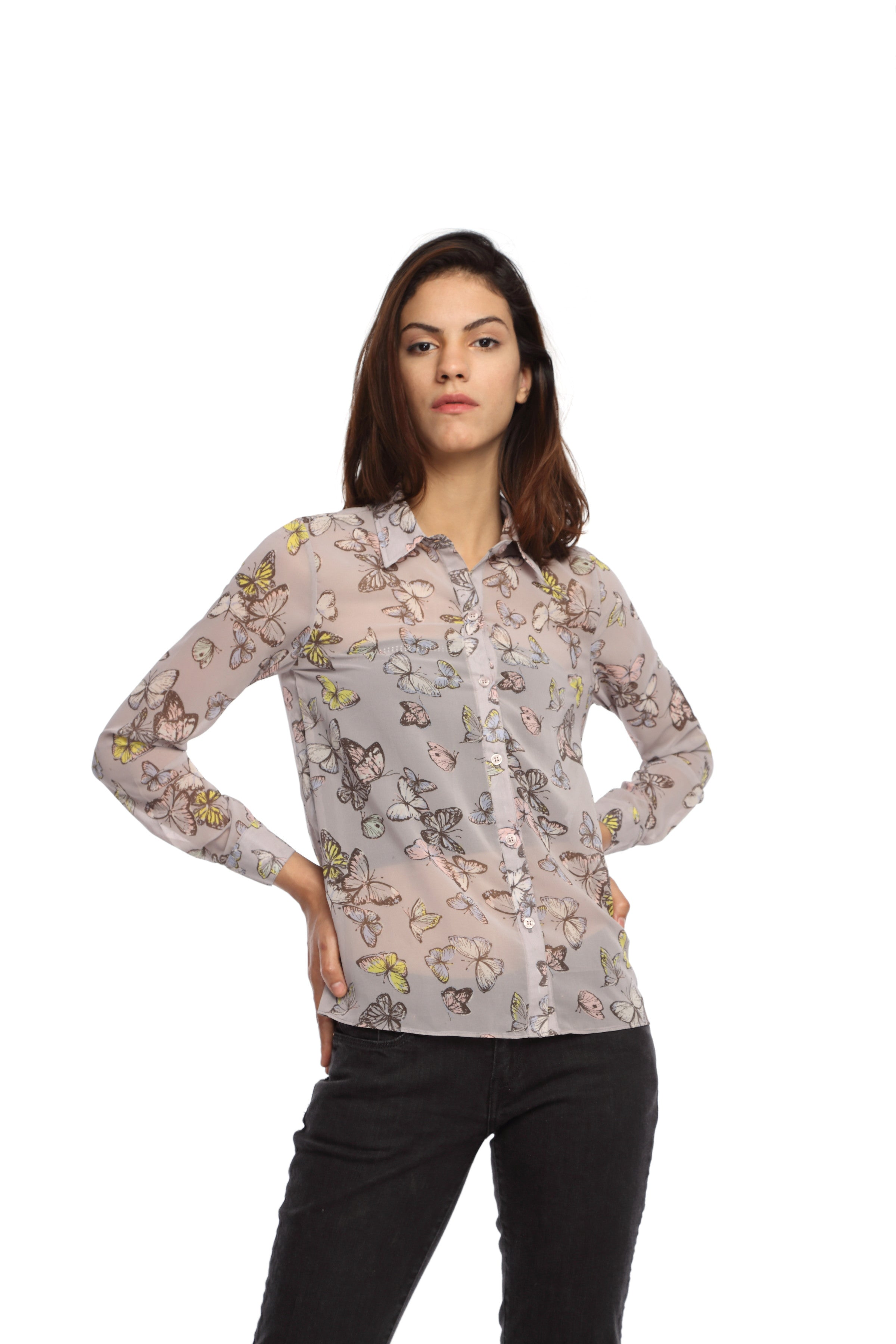 Grey Butterfly Full Sleeve Button Down Top Front