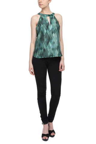 Green Print Halter Neck Top Front