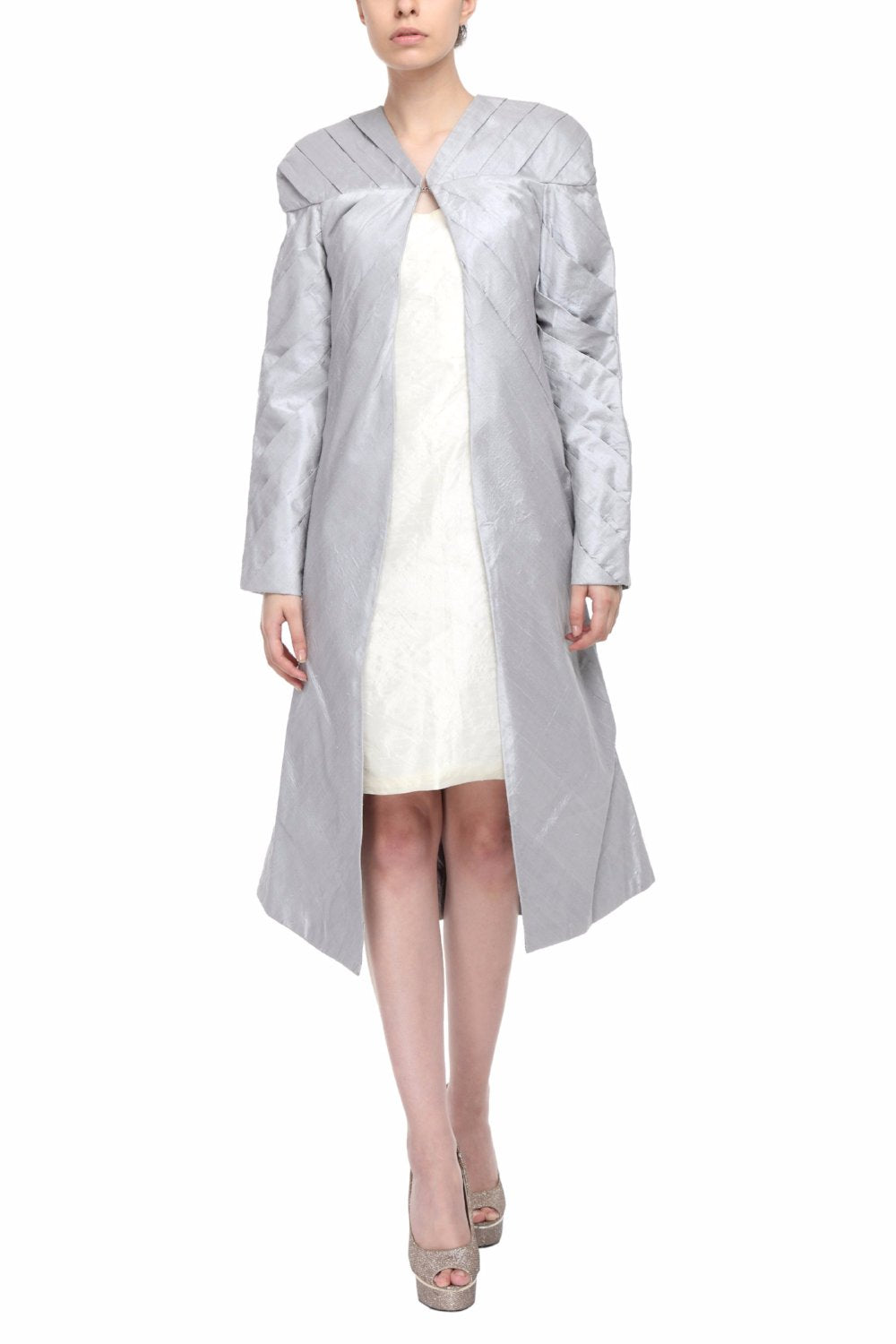 Silver Hand Pleated Silk Coat Front