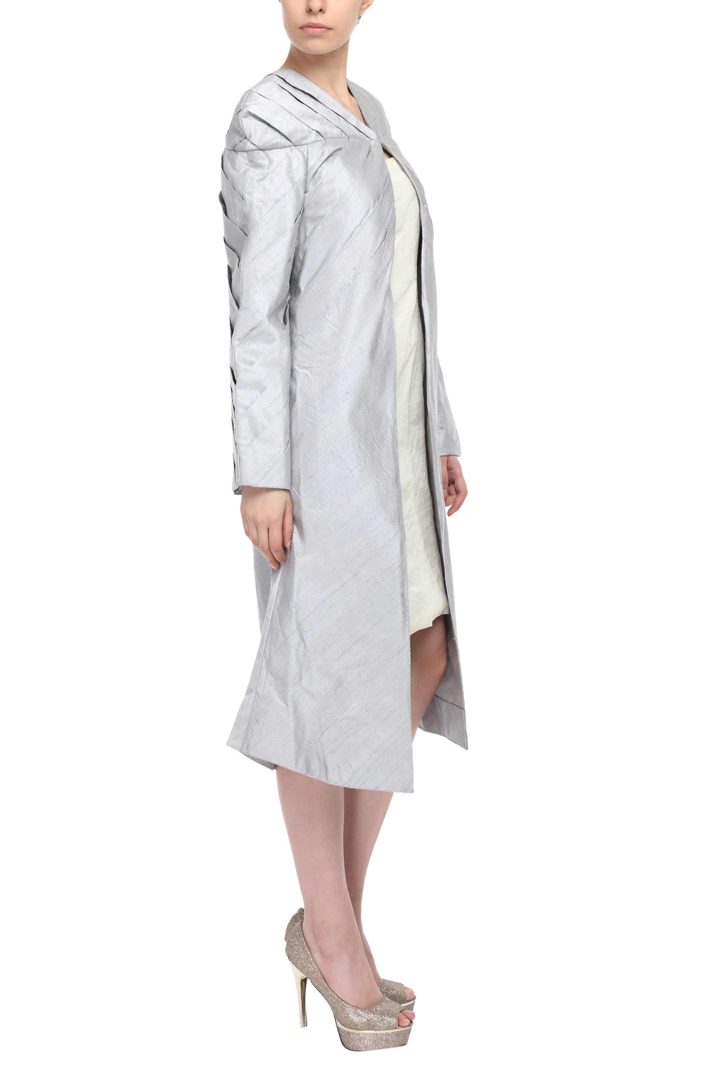 Silver Hand Pleated Silk Coat Side