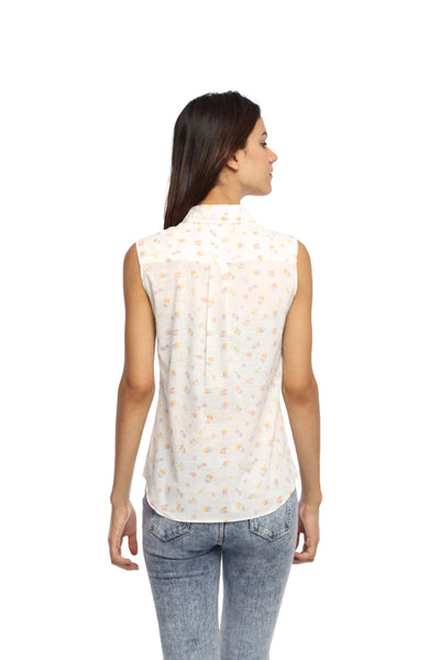 Ice Cream Print Sleeveless Long Shirt Top Back