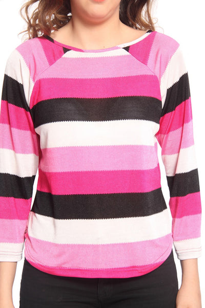 Pink Stripe Raglon T Shirt Top Close Up