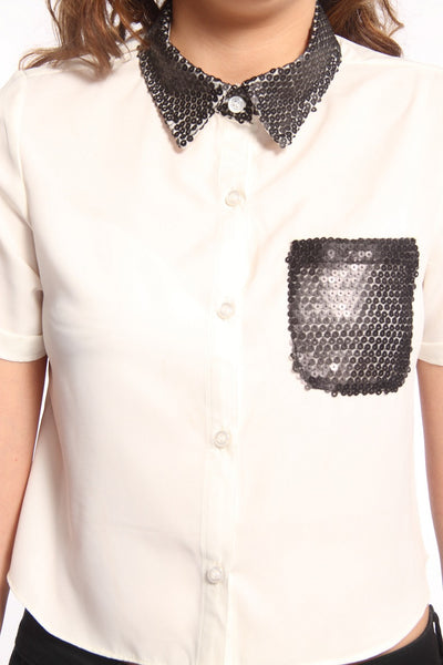 White Top With Black Sequin Collar & Pocket Close Up