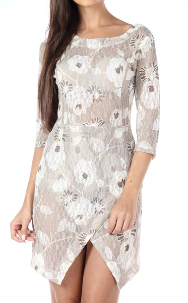 Floral Cream Asymmetric Lace Knit Dress Close Up