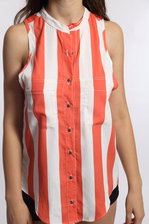 Orange Stripe Sleeveless Shirt Top Close Up