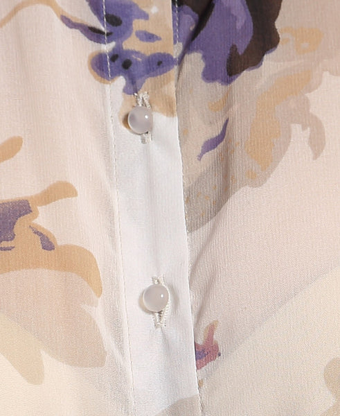 Floral Print Tie Up Top Close Up