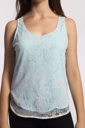 Blue Lining White Lace Top Close Up
