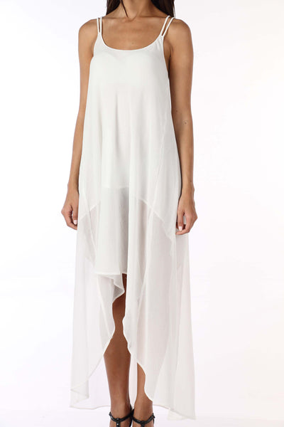 White Highlow Cross Back Dress Close Up