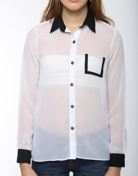 White Full Sleeve Shirt With Black Cuff Top Close Up