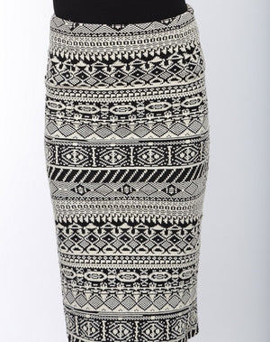 Black & White Pencil Skirt Close Up