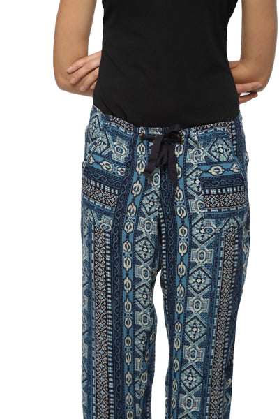 Blue Printed Harlem Pants Close Up