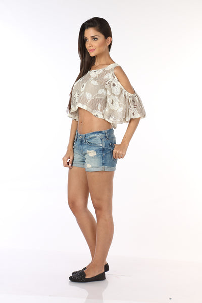 Cream Lace Cold Shoulder Top Side