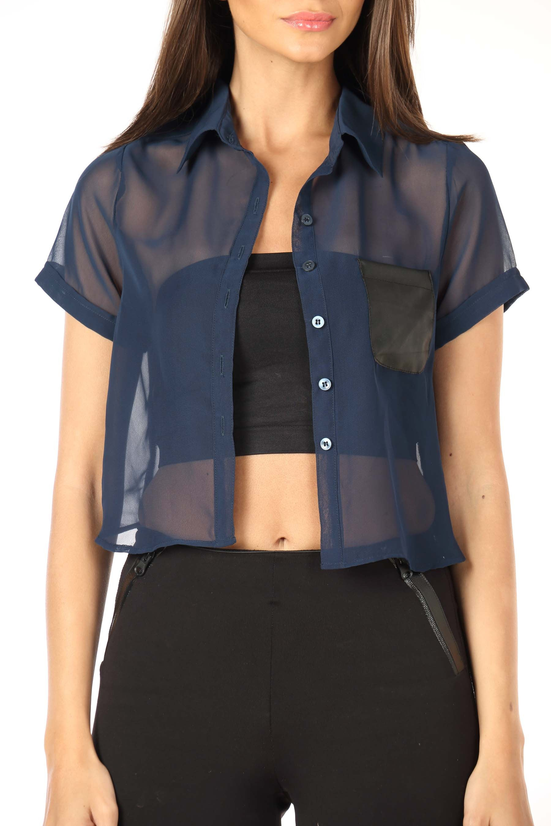 Navy Crop Shirt with Leather Pocket Close Up