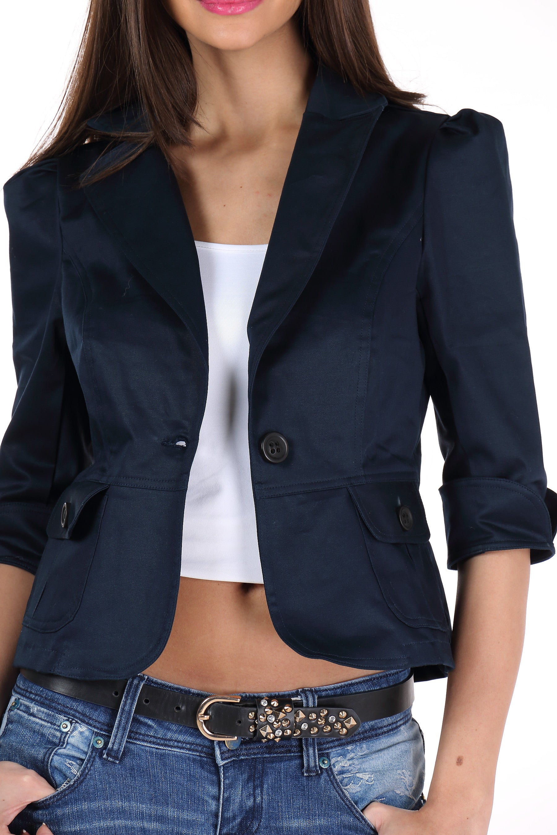 The Classic Jacket in Dark Blue Close Up