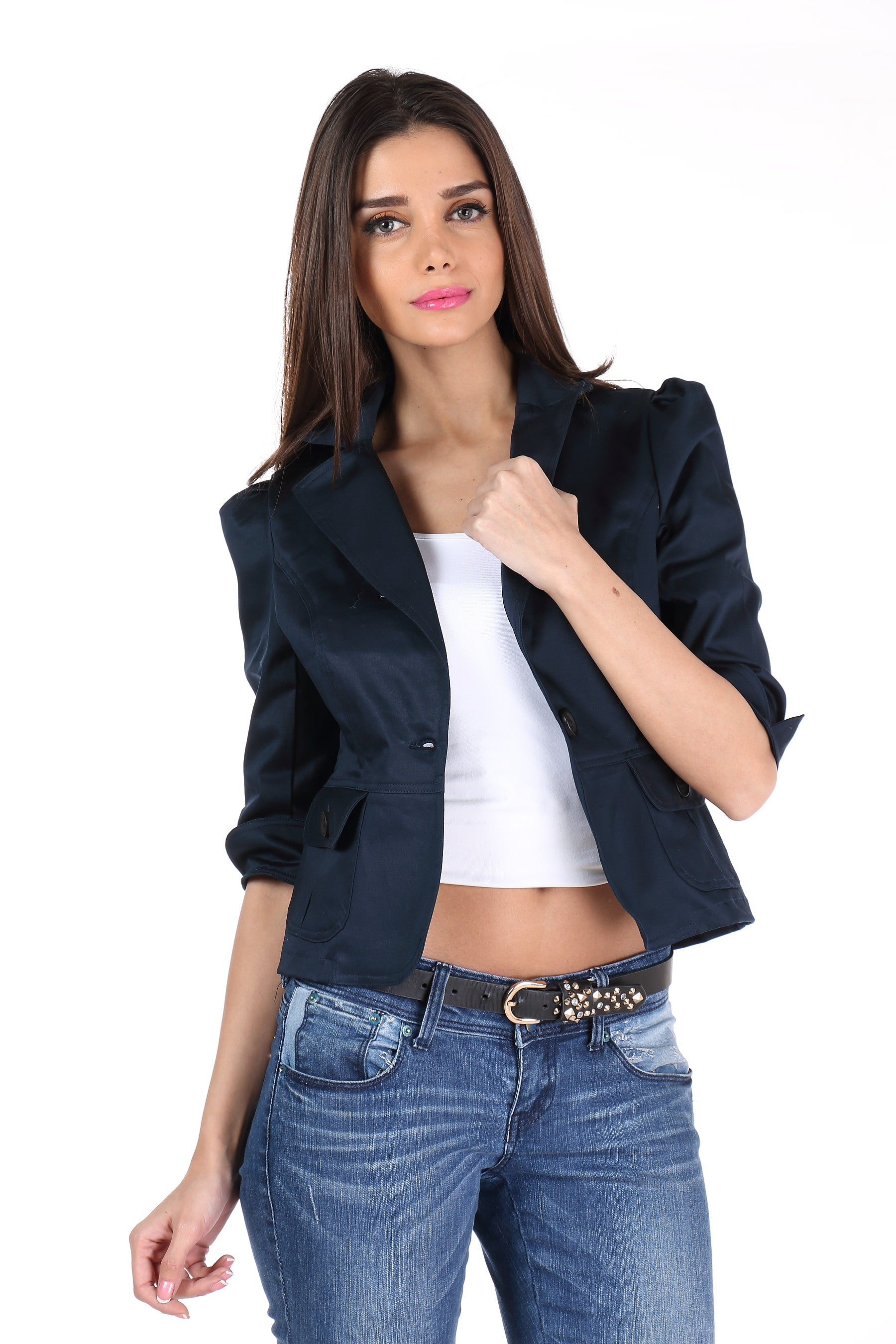 The Classic Jacket in Dark Blue Front