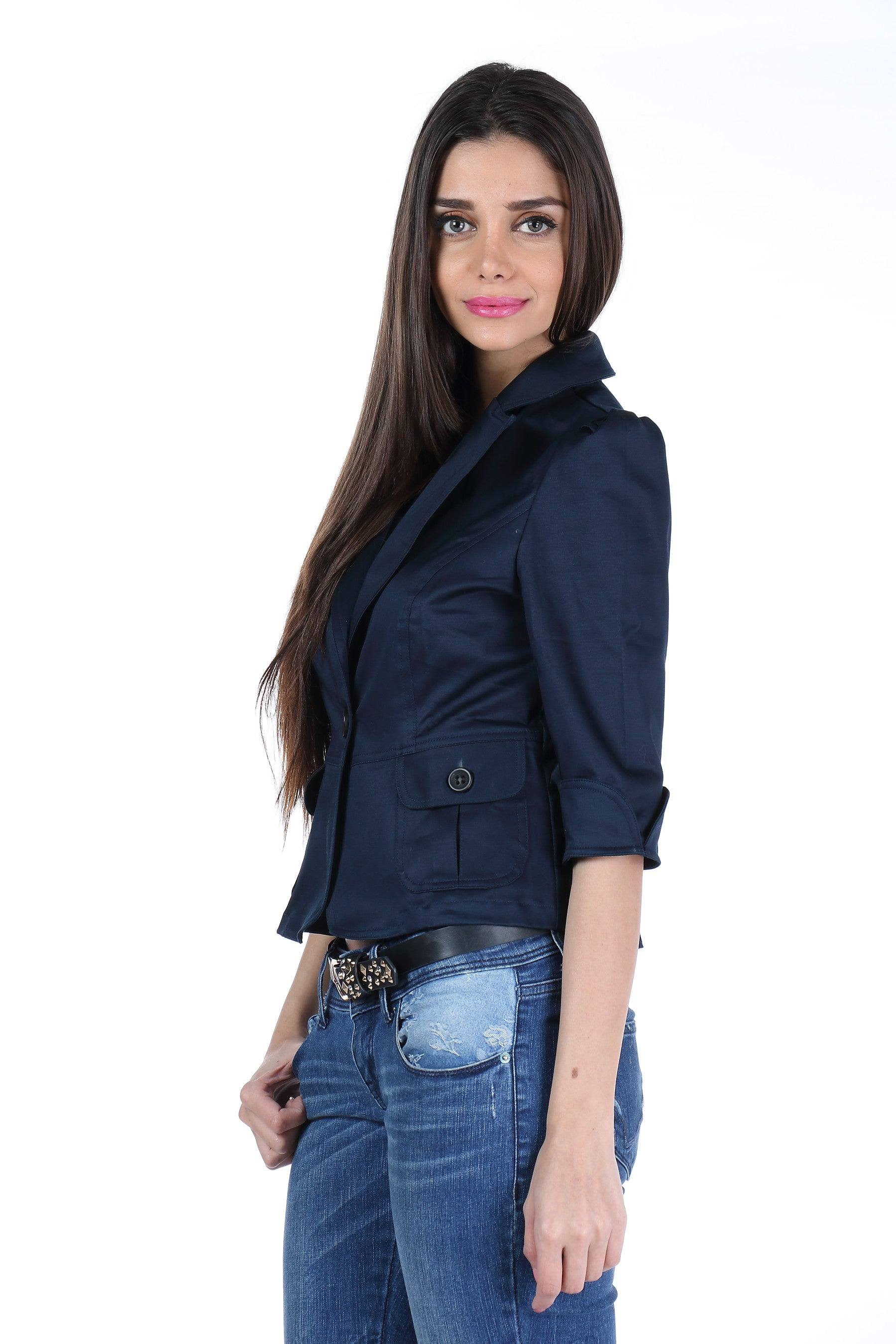The Classic Jacket in Dark Blue Side 1