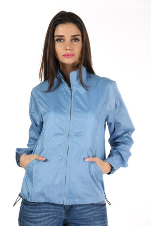 Rain Coat in Sky Blue Front 1