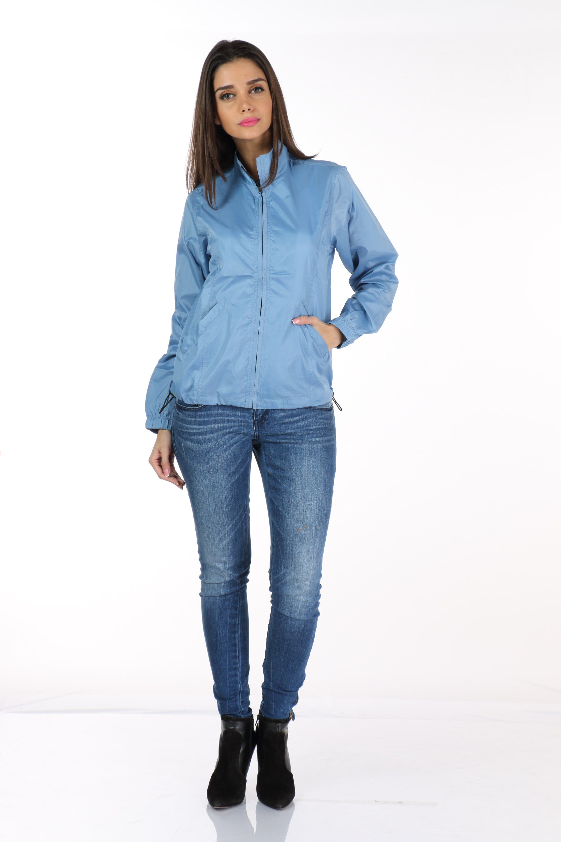 Rain Coat in Sky Blue Front