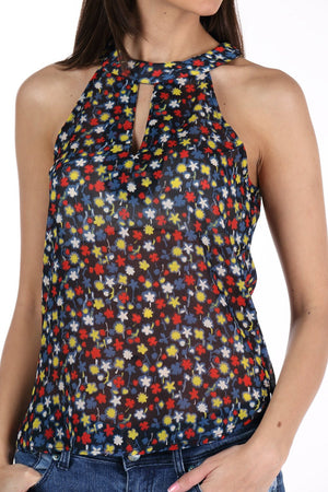 Floral Print Halter Neck Top Close Up