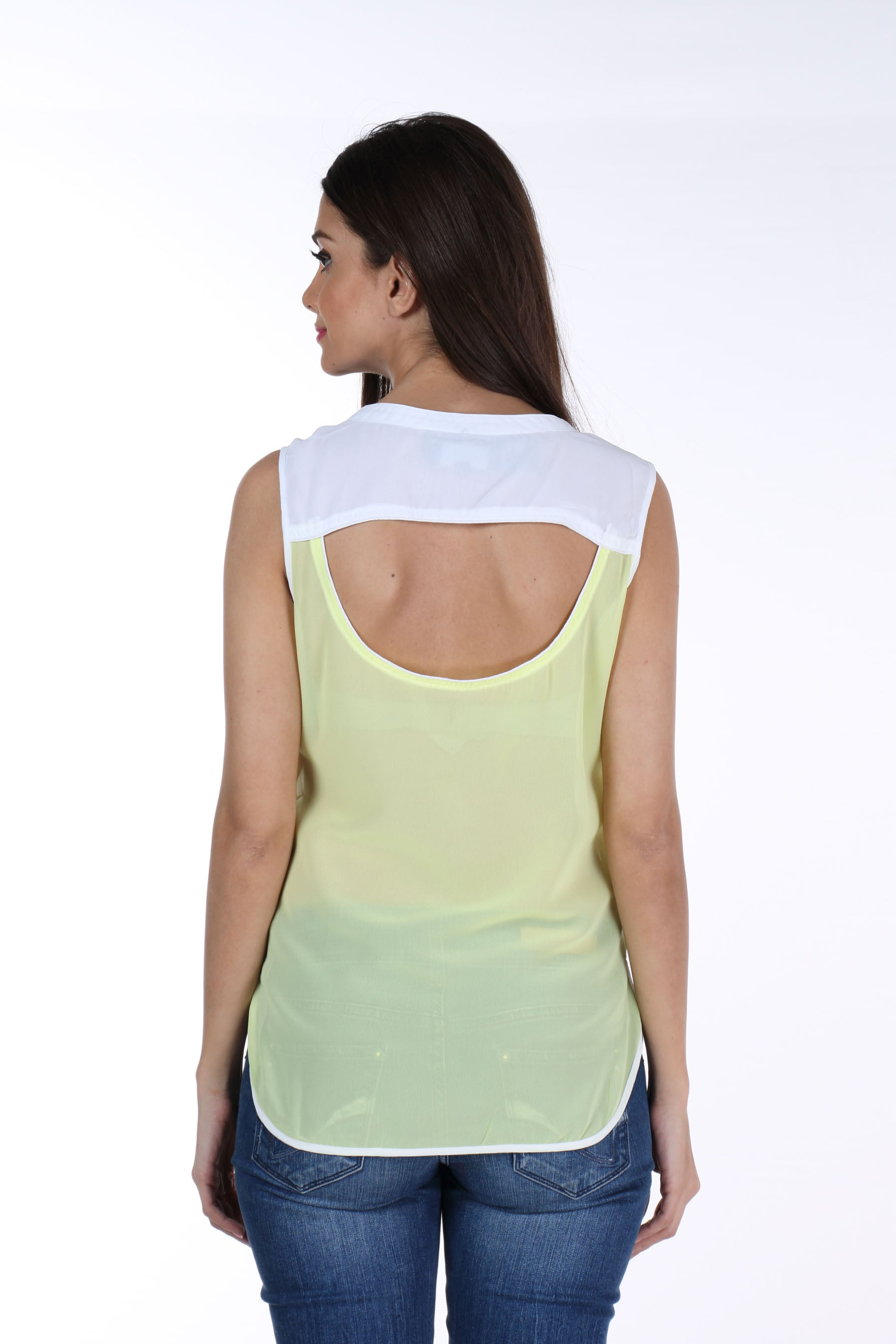 Yellow Back Cut Out Top