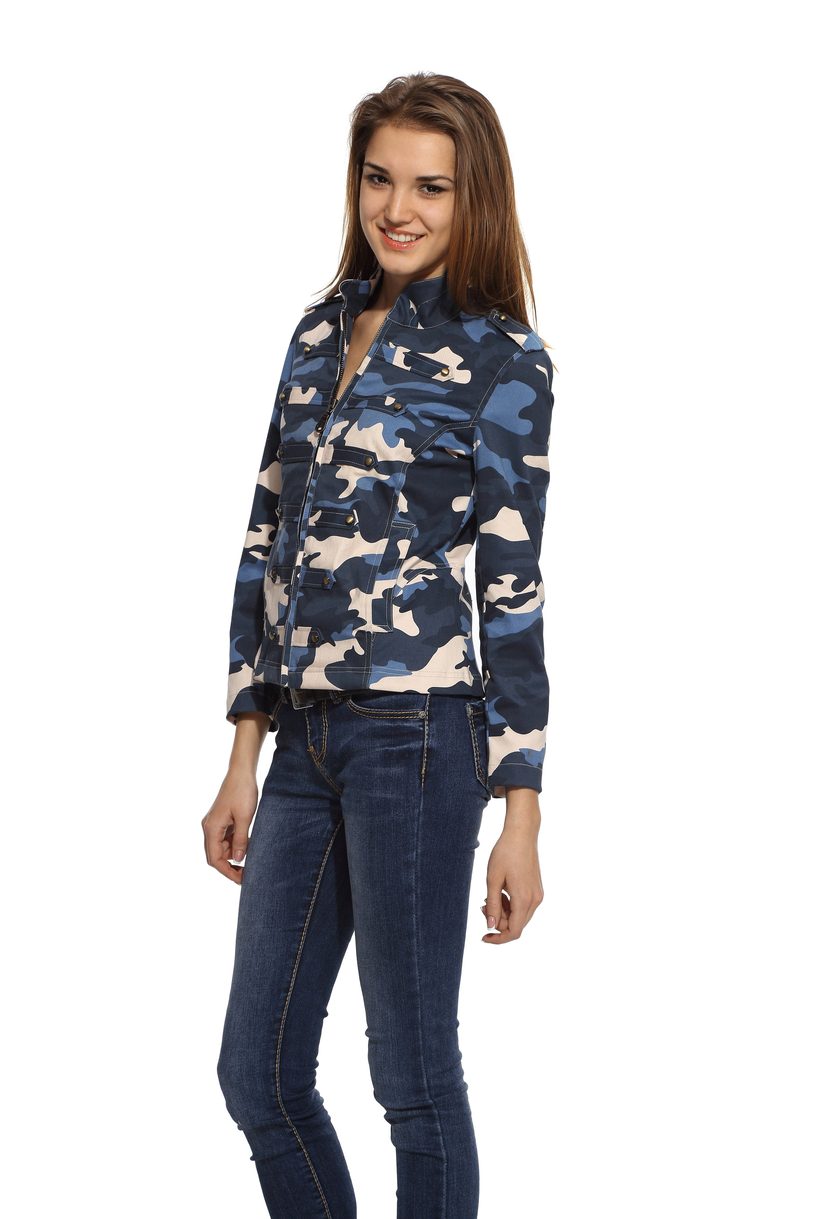 Military Jacket in Blue Camo Side