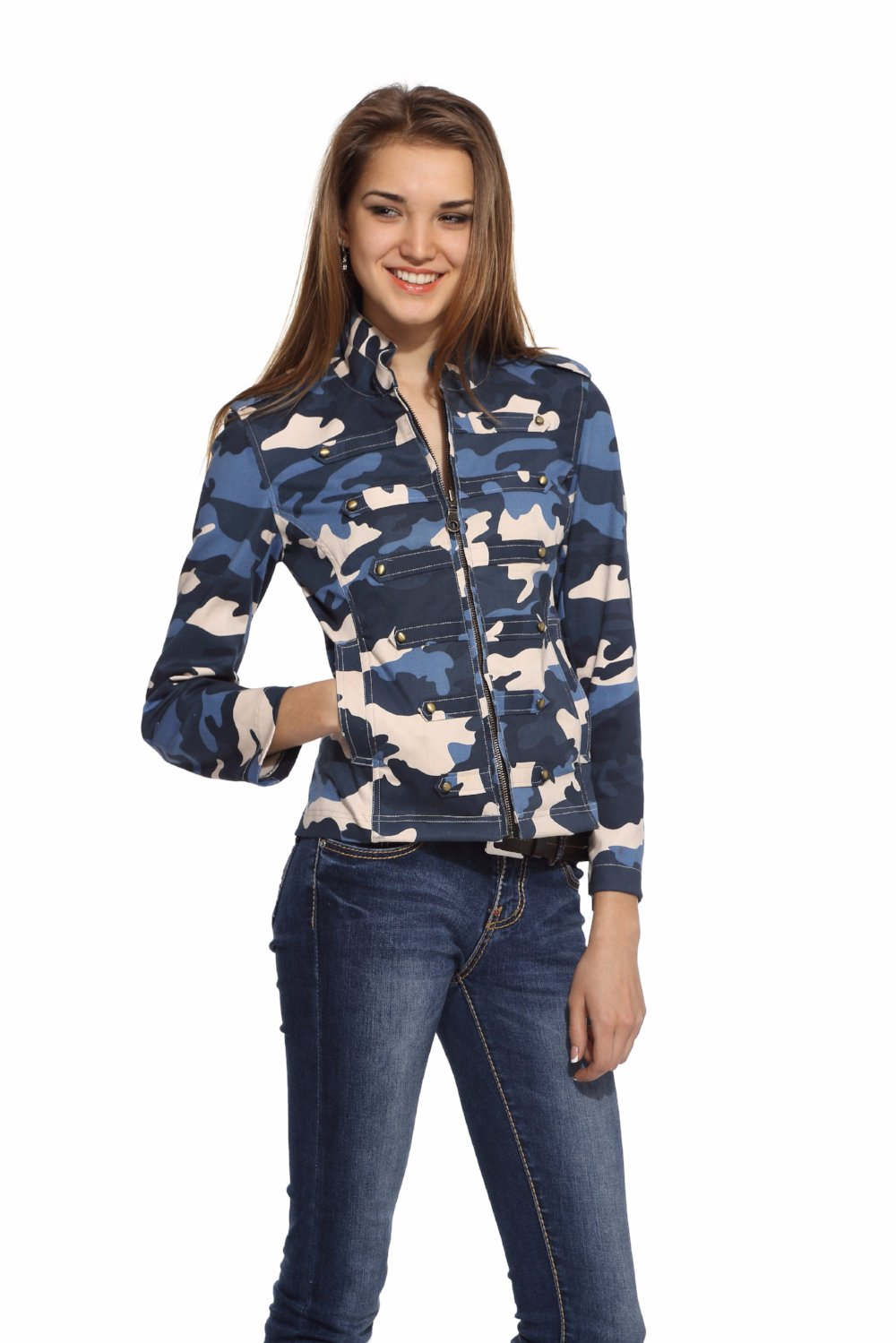 Military Jacket in Blue Camo Front