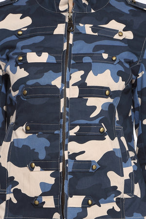 Military Jacket in Blue Camo Close Up