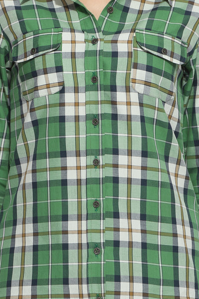 Green Checks Shirt Top Close Up